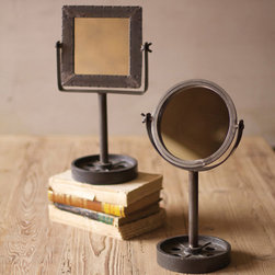 Metal Mirrors with Base - These unique, hand-crafted accessories are imported from small cottage industries in Colombia, Honduras, Haiti, Morocco, and more.