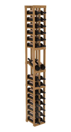 2 Column Display Row Cellar Kit in Pine with Oak Stain - Make your best vintage the focal point of your wine cellar. High-reveal display rows create a more intimate setting for avid collectors' wine cellars. Our wine cellar kits are constructed to industry-leading standards. You'll be satisfied. We guarantee it.