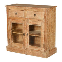 Sierra Living Concepts - Wild West Wood Mini Buffet Display Cabinet - Cowboy style is rough and ready and so is our Wild West Textured Display Cabinet. Use it as a free standing kitchen cupboard or rustic buffet. The solid hardwood storage system is built with solid mango wood, a tropical hardwood grown as a sustainable crop. The hand crafted window cabinet has a large 2-shelf cupboard and two top drawers. The front, sides and top features varied textured designs.