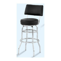 "Alston - Bar Stool w Chrome Finished Frame, Black Upho - For retro flair with added comfort, this double ringed barstool can't be beat! You'll enjoy the comfortable feel of the thick upholstered cushions on the seat and back as you pull up to the bar to have a snack. The chrome base accents the black upholstery perfectly. * Chrome frame. Black upholstered seat & back. Padded seat and back. Retro inspired design. 30"" Seat height. Perfect for conference centers, hotels and banquet halls, bars. 14 in. Dia. x 43 in. H"