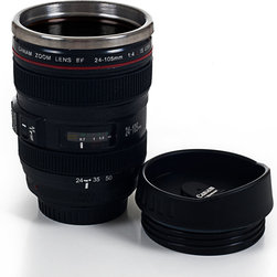 Whetstone - Camera Lens Stainless Steel Coffee Mug with Lid - Bring beverages into sharp focus with the SLR Camera Lens Travel Mug by Whetstone. This striking mug has the look and feel of an authentic SLR camera lens from focus and aperture rings to distance and depth of field scales.