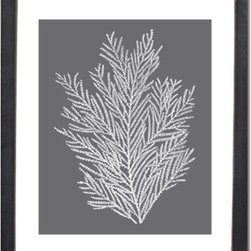 Coral Print Gray White Coral Artwork - Crisp white rendition of antique sea coral silhouette, on a cool grey background.