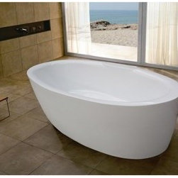"Aquatica - Aquatica PureScape 271 Freestanding Acrylic Bathtub - White - Treat yourself and soak in peaceful tranquility with Aquatica's stylish and ergonomic PureScape 271 freestanding bathtub. Aquatica challenges everything we thought we knew about a bathtub with the world-class modern design and ergonomic features that are incorporated into all of their luxury tubs. Aquatica Purescape bathtubs are as pleasing to the eye as they are to soak in. Their striking visual appeal adds a mesmerizing modern elegance to any bathroom. From the finest selection of raw materials all the way to the high-class design, Aquatica has spared no expense to innovate and create some of the highest quality bathtubs in the world.FEATURES:Striking upscale modern designFreestanding constructionSolid, one-piece construction for safety and durabilityExtra deep, full-body soakErgonomic design forms to the body's shape for ultimate comfortQuick and easy installationConstructed of 8mm thick 100% heavy gauge sanitary grade precision acrylicPremium acrylic and tub thickness provides for excellent heat retentionHigh gloss white surfaceColor is consistent throughout its thickness - not painted onColor will not fade or lose its brilliance overtimePreinstalled cable drive pop up and waste-overflow fitting includedDesigned for one or two person bathingNon-porous surface for easy cleaning and sanitizingBuilt-in metal base frame and adjustable height metal legsChrome plated drain5 Year Limited WarrantyCode compliant with American standard 1.5"" waste outletsSPECIFICATIONS:Overall Dimensions: 70.25 in. L X 33 in. W X 23.67 in. HDepth to Overflow Drain: 15 in.Interior Depth: 17.75 in.Interior Length (Top): 62.33 in.Interior Width (Top): 26 in.Interior Length (Bottom): 49.25 in.Interior Width (Bottom): 21.67 in.Weight: 140 lbsCapacity: See Spec SheetShape: OvalDrain Placement: CenterSpec SheetNote: This model usually ships in 1-2 days. Please allow an additional 2-3 business days for order transmittal and verification."