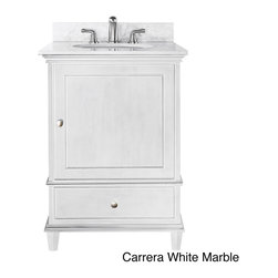 None - Avanity Windsor 24-inch Single Vanity in White Finish with Sink and Top - The Windsor single vanity in white is a beautiful transitional design with classic lines.  Constructed of solid poplar wood and veneers,brushed nickel hardware,soft-close drawer guides and hinges,this vanity is perfect for any bathroom.