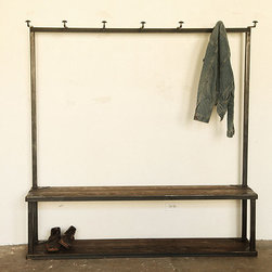 Coat Rack Bench - There is an industrial and almost cruel edge to this piece — like it was manufactured using old factory parts and torture devices. Just me? Either way, I like it. Whether your looking to add a harder edge to your entryway, or are a firm follower of form-follows-function, I find this piece would be a perfect foyer addition.