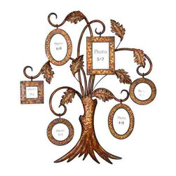 UMA - Family Tree of Life Metal Wall Art - Tree photo 3D frame metal wall hanging that proudly displays six photos of various sizes and shapes from the tips of curved branches
