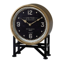 Uttermost - Shyam Table Clock - From clock desiger Steve Kowalski  this United Time Table Clock features a metal frame with a brass finish and aged black stand with Arabic numbers at the 12,3.6, and 9 a great accebt and timepiece for home or office.