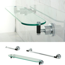 None - Chrome 3-piece Rounded Shelf and Towel Bar Bathroom Accessory Set - Easily renew the appearance and design of your bathroom with this 3-piece bath set in a chrome finish. This luxurious set features a strong and durable construction to create a long-lasting addition to your bathroom.