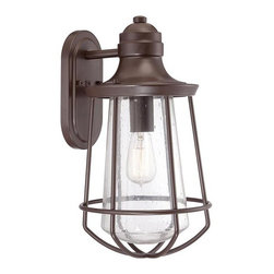 Quoizel - Marine 1-lt Large Outdoor Wall Lantern - Inspired by vintage Americana the Marine collection features a nautical flair. The Western Bronze finish complements the overall design of this series and the filament bulb accents the clear seedy glass for a classic look.