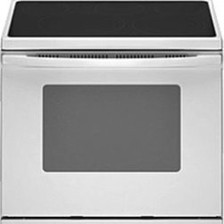 Whirlpool Electric Range - White - Product Features:  SteamClean option spot cleans the oven floor in 20 minutes. Used periodically to clean light spills on the bottom of the oven, it keeps the oven clean and reduces the need for frequent self-clean cycles. Hidden bake element simplifies cleanup with the bake element hidden beneath the oven floor, leaving a smooth interior surface that is easy to wipe clean.