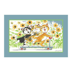 "Fun Rugs - Duckport Kitties Take A Ride Wags and Whiskers Collection Rug - 39"" x 58"" - This colorful rug has duckport kitties take a ride design Collection Name: Wags and Whiskers; 100% Nylon Dimensions: 39"" x 58"""