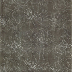 """Nourison - Palisades Wildflowers Floral Mushroom 0 8' x 10'6"""" Kathy Ireland Rug by RugLots - On over-sized floral print scales the summits of sophistication when drawn with simple clean lines, and presented in a strikingly contemporary two-toned color palette. Hand-tufted and constructed with a plush cut and loop pile for a wonderful tone and texture, this charming rug is the embodiment of relaxed refinement.   Our Wildflowers rug lives in our Architectual Style Guide."""