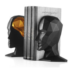 MENU - Knowledge in the Brain Bookends, Black/Gold - A pair of bold bookends can be the perfect addition to a modern bookcase. These profile pieces designed by Karim Rashid have a thoughtful look, while the gold interior brings just a hint of drama.