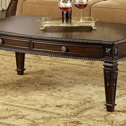 Homelegance - Palace Rectangular Cocktail Table - Two drawers. Tapered legs. Egg and dart moldings. Rope twist posts. Acanthus, tobacco leaf carvings and florets. Made from cherry veneers. Rich brown finish with golden highlights. 52 in. W x 32 in. D x 20 in. HThe Palace Collection exemplifies the best of Old World Europe. Create an ideal European environment worthy of the nobles of yesteryear and the sophisticated homeowner of today. Bring Europe home with the Palace collection.This traditional casual dining table works for a small gathering or a large crowd.