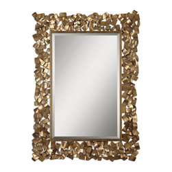 """Uttermost - Uttermost 12816  Capulin Antique Gold Mirror - Metal strips are welded together to create this ornate frame. the antiqued gold leaf finish has a light gray glaze. mirror has a generous 1 1/4"""" bevel. may be hung horizontal or vertical."""