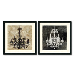 Amanti Art - Oliver Jeffries 'Chandelier- set of 2' Framed Art Print 26 x 26-inch Each - Oliver Jeffries takes a luxurious chandelier and strips it down to a simple silhouette in this elegant Chandelier framed art print pair.