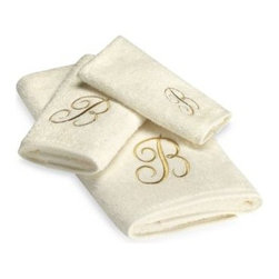 Avanti - Avanti Premier Gold Script Monogram Hand Towels in Ivory - Classic and sophisticated, these monogrammed towels will add that subtle personal touch to your bathroom decor. Script letter is embroidered with great detail over an incredibly soft towel.