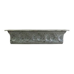 Aster Metal Wall Shelf - Inspired by antique ceiling tiles and incorporating timeless motifs, the Aster metal wall shelf has an aged blue finish and looks great with a variety of decor.