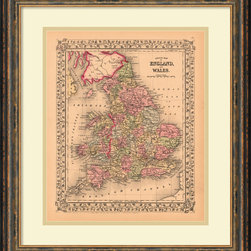 Amanti Art - Ward Maps 'County Map of England and Wales, 1867' Framed Art Print 19 x 22-inch - Vintage maps are a classic accent that never goes out of style. Whether you are a map lover or wish to document and showcase where you have been (or would like to go), maps make a great addition to any space.