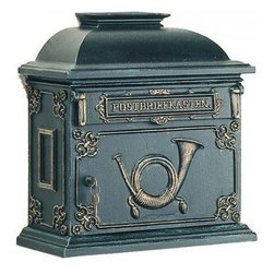 Dahlhaus Locking Victorian Mailbox, Wall-Mount - Dahlhaus locking Victorian wall-mount mailbox in black.  A newspaper holder is also available.
