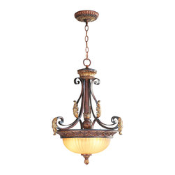 Livex - Livex Villa Verona Inverted Pendant 8567-63 - Finish: Verona Bronze with Aged Gold Leaf Accents