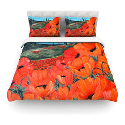 "Kess InHouse - Christen Treat ""Poppies"" Cotton Duvet Cover (King, 104"" x 88"") - Rest in comfort among this artistically inclined cotton blend duvet cover. This duvet cover is as light as a feather! You will be sure to be the envy of all of your guests with this aesthetically pleasing duvet. We highly recommend washing this as many times as you like as this material will not fade or lose comfort. Cotton blended, this duvet cover is not only beautiful and artistic but can be used year round with a duvet insert! Add our cotton shams to make your bed complete and looking stylish and artistic! Pillowcases not included."