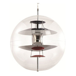 Globa Light Pendant - This globe light pendant makes it clear that all the world is a stage. Made from transparent acrylic with five lacquered aluminum reflectors, this piece will be sure to visual interest to any room.