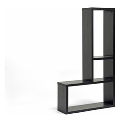 Baxton Studio - Rupal Brown Modern Display Shelf - This is the final piece of your design puzzle. Its L-shaped configuration makes it easy to find a place just about anywhere in your home. Fitting in has never been easier than with this shapely shelving unit.
