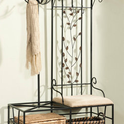 None - Metal Half-tree Design Coat Bench with Umbrella Rack - This unit consists of three hooks,a handy shelf and bench seating. The metal hall tree design offers a handsome alternative to cluttered guest closets as it bring practical style to your hall or entry.