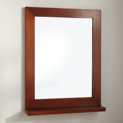 "24"" Liani Mahogany Vanity Mirror - The 24"" Liani Vanity Mirror is crafted of real mahogany and adds richness and style to a room. A lower shelf displays toiletries or your favorite trinkets."