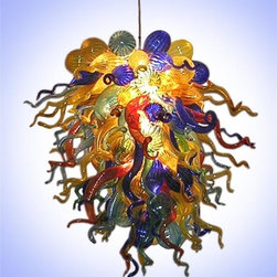 Belle Meade Hot Glass - Turkish Delight Chandelier - This fantastic chandelier features vibrant colors of Cobalt, Transparent Yellow, Gold Topaz, and Aqua Marine with Lava Red and Emerald accents. The individually hand blown glass pieces are a mixture of shapes found in nature: Pods, Horns and Gourds (see additional photo #2) This chandelier makes a brilliant statement! Note- This is a representational item that can be commissioned. These designs are very diverse and can be custom made to fit any project. Other colors, sizes, and shapes are available so please call for more details. Allow us to help turn your vision into a reality. Note- This chandelier is lit from within the armature by easily replaceable 75 watt halogen bayonet bulbs. The lighting system is made from UL listed parts. The armature is shaped appropriate to the chandelier. Note- These chandeliers are suspended by a thin, high strength cable, the length of which must be specified when ordering. The weight for these chandeliers averages 30 pounds per 50 pieces. Due to the many different styles and types available, a ceiling canopy is not provided but can easily be obtained through your electrician. Note- If this item will be viewed from above, such as in a stairwell, the top will need additional pieces covering the armature at additional cost. Please call us for a price quote and specify this when ordering.  LED and Compact Fluorescent lighting are both available. Call for details.  Please note that the price listed pertains to a fixture that will appear very similar to the light shown in the featured photograph and as outlined in the accompanying description.  Virtually all of our artisan crafted fixtures can be customized regarding size, shape, and / or color(s).  Please call for details.