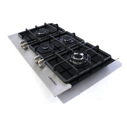 "WindMax - 36"" Stainless Steel Tempered Glass Built-in Kitchen 4 Burner Gas Hob Cooktop - * Gas Type: Compatible with LPG and NG (adapters and pipes are NOT included), Default LPG gas, If you want to connect with NG gas, please remove the LPG gas kit."