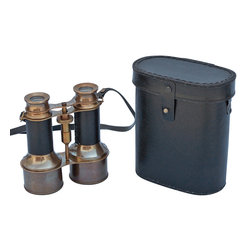 Handcrafted Nautical Decor - Antique Brass Binoculars w/ Leather Belt and Leather Case 6'' - These beautiful Hampton Nautical Commander's Antique Brass/Leather Belt Binoculars with Leather Case 6'' will make anyone feel like a true navigator. With a uniquely designed body structure and classic eye pieces, these binoculars have in-line prisms for improved field of view and have precision ground glass 1.75 inch (44 mm) diameter objective lenses. Focusing is accomplished using a knurled focusing knob on top of the binoculars. The binoculars have a leather strap and come with a handmade leather case.--------    Antique brass wrapped in leather nautical binoculars--    --    Functional and decorative nautical decor--    20x magnification--    Easy focusing with knurled knob--    Leather strap and handmade leather case included for safe keeping--    Custom engraving/photo etching available; logos, pictures, and slogans can easily be put on any item. Typical custom order minimum for engraving is 100+ pieces. Minimum lead time to produce and engrave is 4+ weeks.--