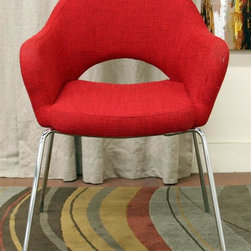 Wholesale Interiors - Baxton Studio Mid Century Modern Arm Chair in - Foam cushioning. Red twill fabric upholstery. Wooden seat frame. Steel legs in chrome color. Non-marking feet. Minimal assembly required. Seat: 16.5 in. W x 20 in. D x 17.75 in. H. Overall: 24.75 in. W x 22 in. D x 32.38 in. H (12 lbs.)Evocative of the styles and principles of mid-century design, the versatile executive arm chair, dining chair or accent chair fits well with both other mid-century styles and the ultra contemporary designs of today.