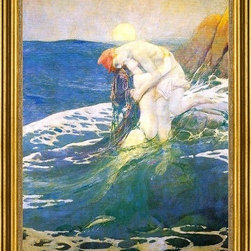 "Howard Pyle-16""x24"" Framed Canvas - 16"" x 24"" Howard Pyle The Mermaid framed premium canvas print reproduced to meet museum quality standards. Our museum quality canvas prints are produced using high-precision print technology for a more accurate reproduction printed on high quality canvas with fade-resistant, archival inks. Our progressive business model allows us to offer works of art to you at the best wholesale pricing, significantly less than art gallery prices, affordable to all. This artwork is hand stretched onto wooden stretcher bars, then mounted into our 3"" wide gold finish frame with black panel by one of our expert framers. Our framed canvas print comes with hardware, ready to hang on your wall.  We present a comprehensive collection of exceptional canvas art reproductions by Howard Pyle."