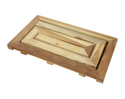 Kammika - Teak Maze Spa Mat 23.5 x14 x1.5 inch H Farmed Teak Hand Dowel w Natural Teak Oil - Our Hand Doweled Farmed Teak Wood Maze Spa Mat 23.5 inch length x 14 inch width x 1.5 inch height with Eco Friendly, Natural, Food-safe Teak Oil Finish is crafted from dense Farmed Teak; water flows off easily. These eco friendly functional art pieces are great for spas, pools, and other wet areas where a drip dry comfortable step would be appreciated. You can use these hand crafted pieces to set up an indoor or outdoor shower or bathing area. They are also great for in home spa set ups and swimming pool rinse off areas. This sturdy Farmed Teak eco friendly functional art unique item can be enjoyed at the pool, patio, or garden areas. Eco friendly, natural, food-safe teak oil creates a water resistant and food safe finish. The light and dark portions of wood turn to darker shades of brown over time and the alkaline in the oils creates a honey orange color highly water resistant and food-safe eco friendly finish that may be renewed or allowed to fade to a silver grey, while maintaining its strength. These natural oils are translucent, so the wood grain detail is highlighted. There is no oily feel; and cannot bleed into carpets Hand crafted from a sustainable Farmed Teak wood species, we make minimal use of electric hand sanders in the finishing process. All products are dried in solar or propane kilns. No chemicals are used in the process, ever. Each piece is kiln dried, sanded, rubbed with eco friendly all natural Teak Oil; they are then packaged with cartons from recycled cardboard with no plastic or other fillers. As this is a natural product, the color and grain of your piece of Nature will be unique, and may include small checks or cracks that occur when the wood is dried. Sizes are approximate. Products could have visible marks from tools used, patches from small repairs, knot holes, natural inclusions or holes. There may be various separations or cracks on your piece when it arrives. There may be some slight variation in size, color, texture, and finish color.Only listed product included.