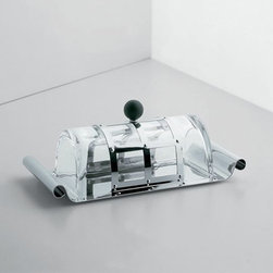 Alessi - Alessi MGBUT Butter Dish - Butter dish in steel mirror polished with crystal lid. Knob in polyamide. Manufactured by Alessi.  Designed in 1990.