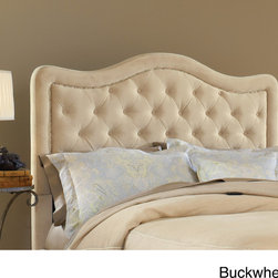 Hillsdale - Trieste Fabric Headboard - The Trieste Bed is both fashionable and comfortable. An impressive,large headboard is complemented by nail-head trim and button and tuck styling. The fabric covered side rails and footboard continue the soft,luxurious theme.