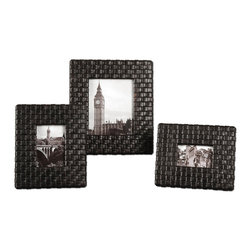 Uttermost - Uttermost 18524 Maulana Black Woven Photo Frame Set of 3 - Uttermost 18524 Maulana Black Woven Photo Frame Set of 3