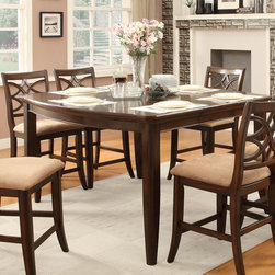Homelegance - Homelegance Keegan Counter Height Table in Rich Brown Cherry - Exuding the sophisticated elegance that your dining room calls for  the Keegan Collection will wow your dinner guests. For additional storage  or for smaller spaces  the server features wine storage and unique mirror accent that adds a small height to the standard server. The counter height table features a lovely veneer pattern that is highlighted by the rich brown cherry finish. Accenting hardware is featured in satin nickel. The complimenting chair features a neutral tone fabric seat and elegantly overlapping chair back design.