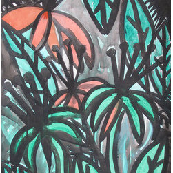 "Jungle Forest (Original) by Talia - A mysterious jungle made with india ink and marker on acid free watercolor paper. Measures 18"" x 24"""