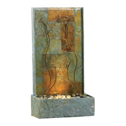 Kenroy - Kenroy 50379SL Copper Vines Indoor/Outdoor Floor Fountain - This series of floor fountains uses an artful textured curtain of patterned, Natural Slate.  Layered metallic accent designs are bottom lit and cast graceful shadows onto the shimmery backdrops.  Organic forms and the gentle sound of water make for tranquil spaces inside or out.