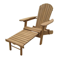 None - Foldable Adirondack Chair with Pull Out Ottoman - This Adirondack chair made out of Fir wood with oil-based stain folds flat for easy storage for added convenience. Pull out ottoman is attached to the chair for added comfort.