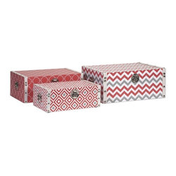 """IMAX - Essentials Storage Boxes - Coral - With the bright color and bold patterns which define the Melon Sorbet collection from Essentials by Connie Post, these decorative boxes are a brilliant storage solution to declutter your room. Item Dimensions: (5-6.25-7.25""""h x 13.75-15.75-17.75""""w x 8.25-10.25-12.25"""")"""