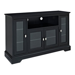 Walker Edison - 52 in. Highboy Style Wood TV Stand - Black - Stylish, contemporary design. High-grade MDF construction. Rich, painted black finish. Unique 33 in. height. Accommodates most flat-panel TVs up to 55 in.. Weight capacity of 250 lbs.. Attractive doors with tempered, safety glass panes. Adjustable shelving. Ample storage space for A/V components and accessories. Ships ready-to-assemble with necessary hardware and tools. Assembly instructions included with toll-free number and online support. Dimensions: 52 in.  W x 16 in.  D x 33 in.  H(108 lbs. )Elegance and function combine to give this contemporary, wood TV stand a striking appearance. Console will accommodate most flat-panel TVs up to 55 in. and the unique height of the console makes it a perfect fit for any entertainment area or even the bedroom.  Adjustable shelves behind attractive, glass-paned doors provide ample storage for a variety of A/V components and media accessories. Crafted from high-grade MDF and painted in a rich black finish, this stand is sure to please.