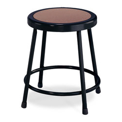 National Public Seating - National Public Seating 18 Inch Black Frame Stool Hardboard Seat in Brown - National Public Seating's 6200 Series heavy-duty black steel stool is a comfortable, durable and attractive addition to any art room, science lab or classroom. The scratch-resistant black finish adds a contemporary touch to one of NPS's most popular stools. Each stool has sturdy legs made of 18-gauge steel tubing plus a foot ring that is welded to the stool at four different points for extra stability. Eight rivets on the Masonite seat prevent warping. Plastic glides keep your stool level and won't mar floors. Meets or exceeds ANSI/BIFMA standards. This National Public Seating 6200 Series heavy-duty black steel stool has a fixed height of 18 inch and comes backed by a 10-year warranty.