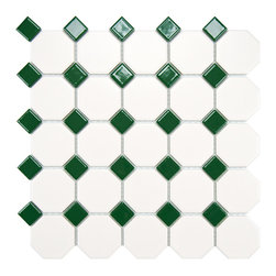 Somertile - Somertile 11-5/8x11-5/8-inch Victorian Octagon Matte White with Green Dot Porcel - Add a durable and attractive floor to any bathroom or kitchen with these simple porcelain floor tiles. The white octagon tiles feature a matte finish, while the green accents are glossy to add contrast across any floor or wall in your home.