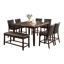 "Acme - 8-Piece Idris Collection Square Espresso Finish Wood Dining Table Set - 8-Piece Idris collection square espresso finish wood and faux marble top counter height dining table set with leather like seating. This set includes the table with a faux marble top , leather like upholstery. Table measures 54"" x 54"" x 36"" H . Chairs measure 24"" H to the seat. Bench measures 18"" x 48"" x 24"" H. Some assembly required."