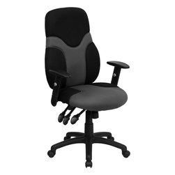 Flash Furniture - High Back Ergonomic Black and Gray Mesh Task Chair with Adjustable Arms - This attractive High Back Ergonomic Chair provides comfort and plenty of adjustable capabilities. Chair is attractively designed with its two-tone mesh upholstery that is seamlessly outlined in the seat and back of the chair. Everyone will want to look and sit in your chair/ but they will have to get their own!