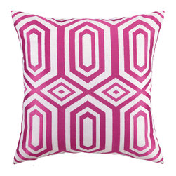 """Jennifer Paganelli - Jennifer Paganelli Hotel Soho Pink Embroidered Pillow - Modern lines converge and connect in an engaging geometric pattern of diamonds and trapezoids to form the Hotel Soho throw pillow. Embroidered in bright pink, this bold linen pillow adds energy to contemporary and transistional settings. 20"""" Sq; 100% linen pillow with embroidered detail; Down fill insert included; Hidden zipper; Dry clean only; Natural linen may appear beige rather than white as shown"""